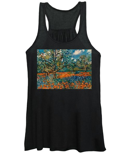 Orange And Blue Flower Field Women's Tank Top