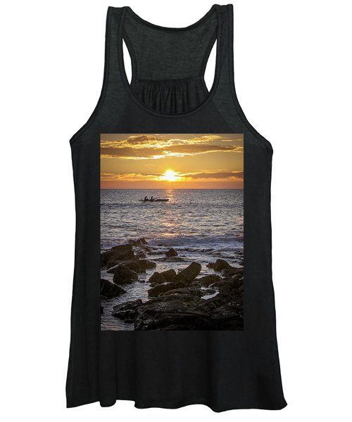 Paddlers At Sunset Portrait Women's Tank Top