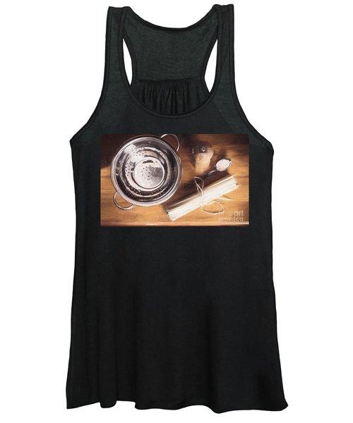 Pasta Preparation. Vintage Photo Sketch Women's Tank Top
