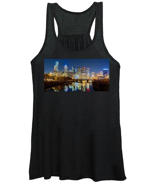 Philadelphia Cityscape Panorama By Night Women's Tank Top