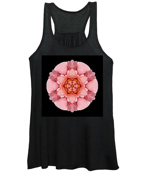 Pink And Orange Rose Iv Flower Mandala Women's Tank Top