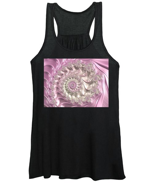 Pink Fractal Spiral Art Bright And Luxe Women's Tank Top