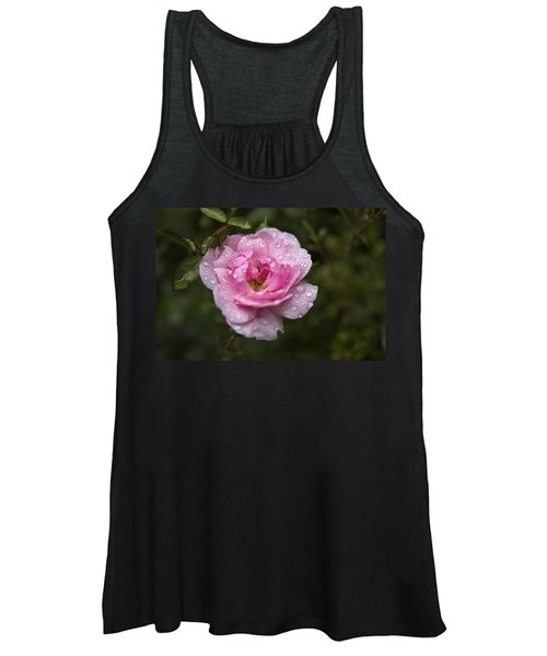 Pink Rose With Raindrops Women's Tank Top