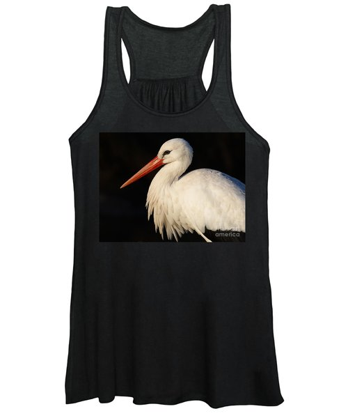 Portrait Of A Stork With A Dark Background Women's Tank Top