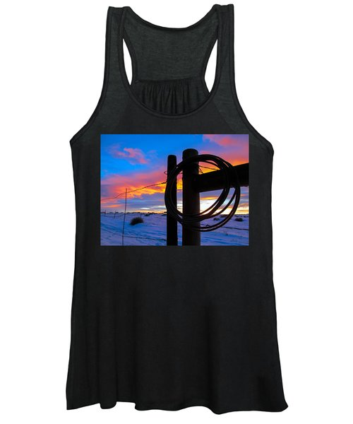 Prairie Fence Sunset Women's Tank Top