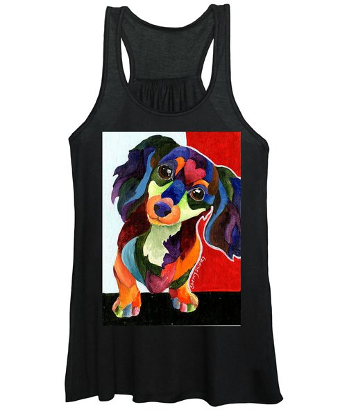 Puppy Love Long Haired Dachshund Women's Tank Top