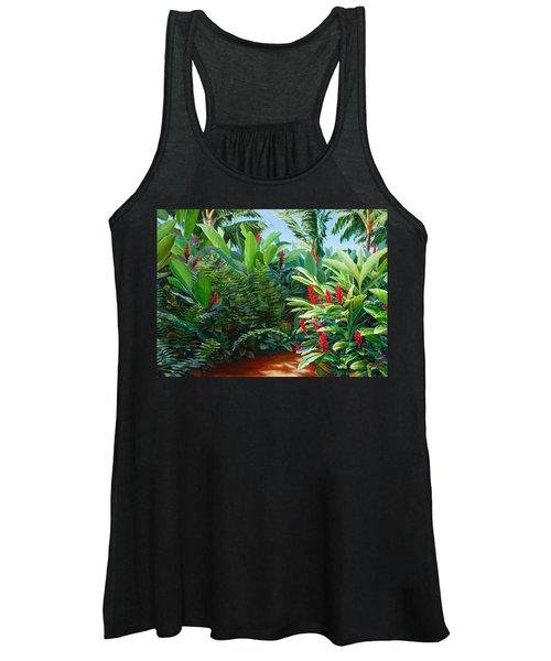 Tropical Jungle Landscape - Red Garden Hawaiian Torch Ginger Wall Art Women's Tank Top