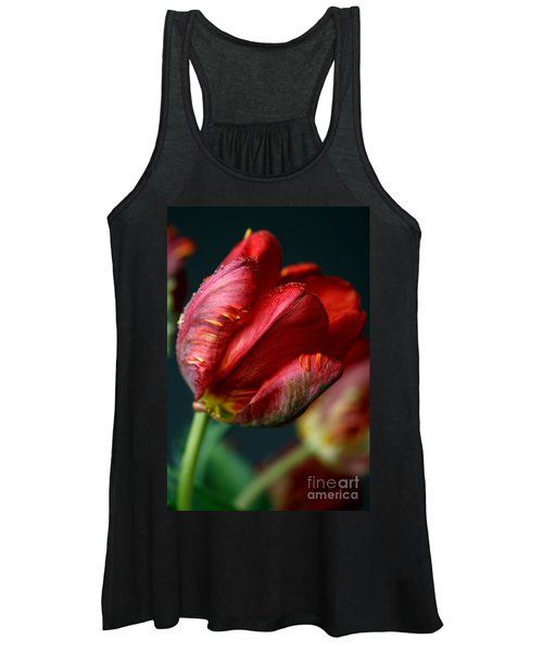 Red Tulip With Dew Women's Tank Top