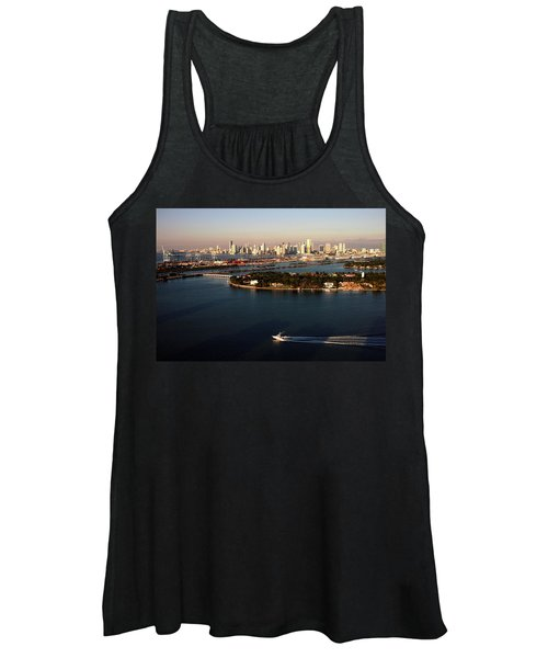 Retro Style Miami Skyline Sunrise And Biscayne Bay Women's Tank Top