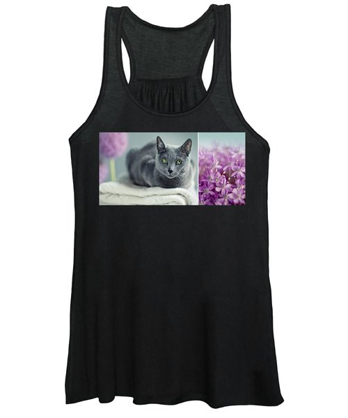 Russian Blue Collage Women's Tank Top