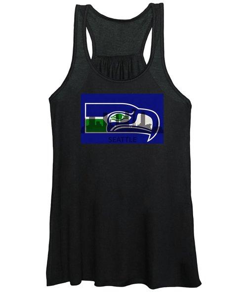 Seattle Seahawks On Seattle Skyline Women's Tank Top