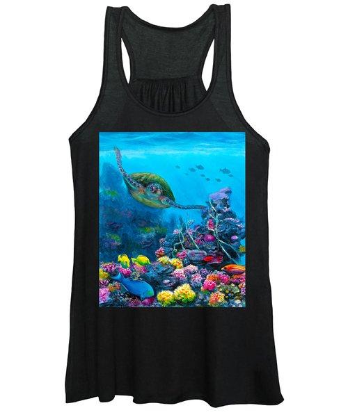Secret Sanctuary - Hawaiian Green Sea Turtle And Reef Women's Tank Top