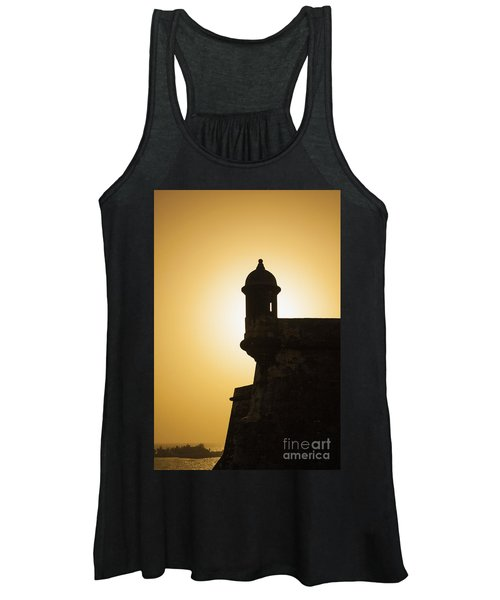 Sentry Box At Sunset At El Morro Fortress In Old San Juan Women's Tank Top