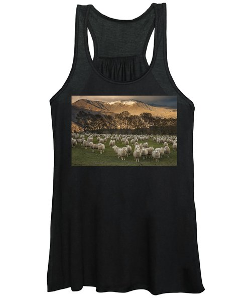 Sheep Flock At Dawn Arrowtown Otago New Women's Tank Top