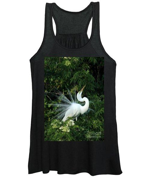 Showy Great White Egret Women's Tank Top