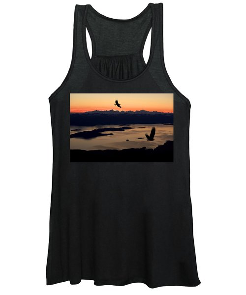 Silhouette Of Bald Eagles In Flight At Women's Tank Top