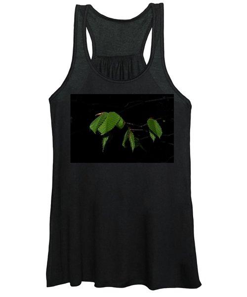 Summer Leaves On Black Women's Tank Top