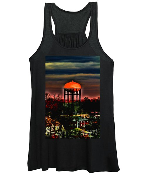 Sunset On A Charlotte Water Tower By Diana Sainz Women's Tank Top