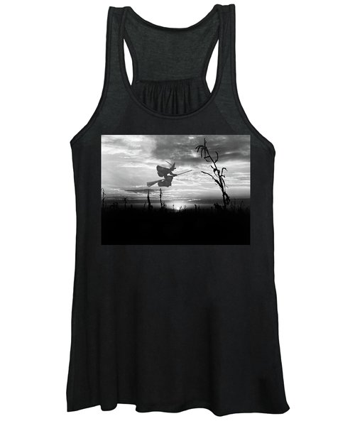 Sunset Over Cornfield With Silhouette Women's Tank Top