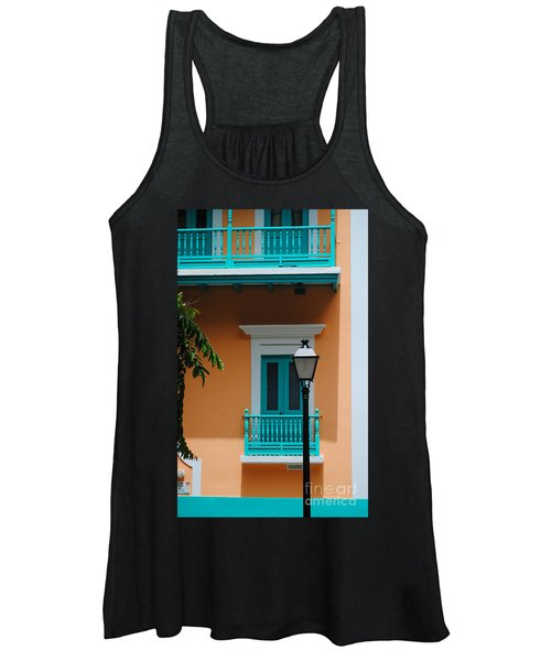Teal With Pale Orange Women's Tank Top