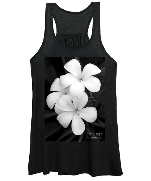 Three Plumeria Flowers In Black And White Women's Tank Top
