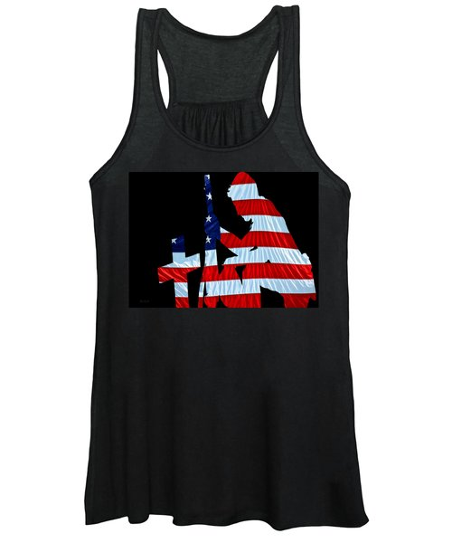 A Time To Remember United States Flag With Kneeling Soldier Silhouette Women's Tank Top