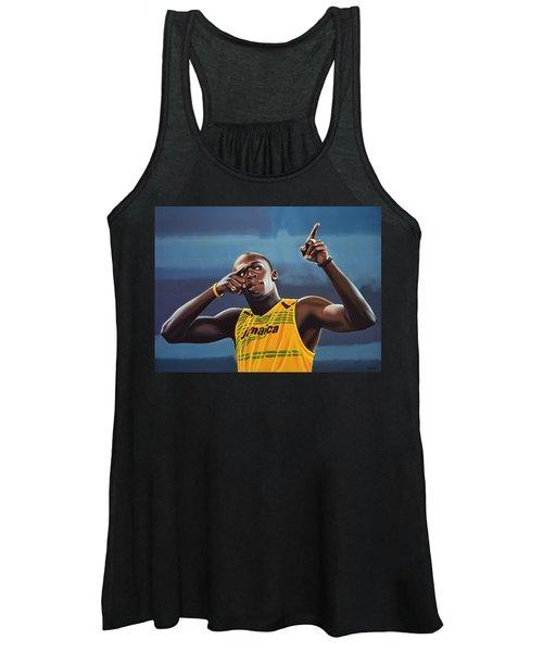 Usain Bolt Painting Women's Tank Top