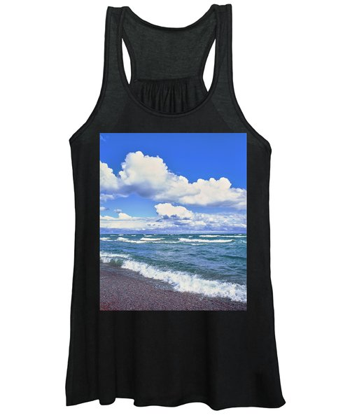 View Of Lakeshore Against Cloudy Sky Women's Tank Top
