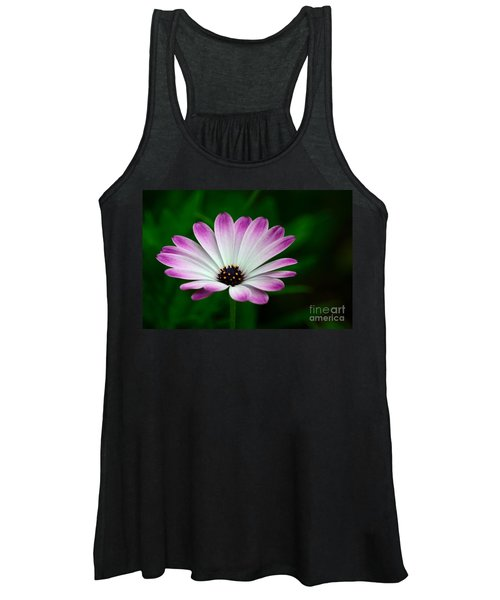 Violet And White Flower Petals With Yellow Stamens Blossoms  Women's Tank Top