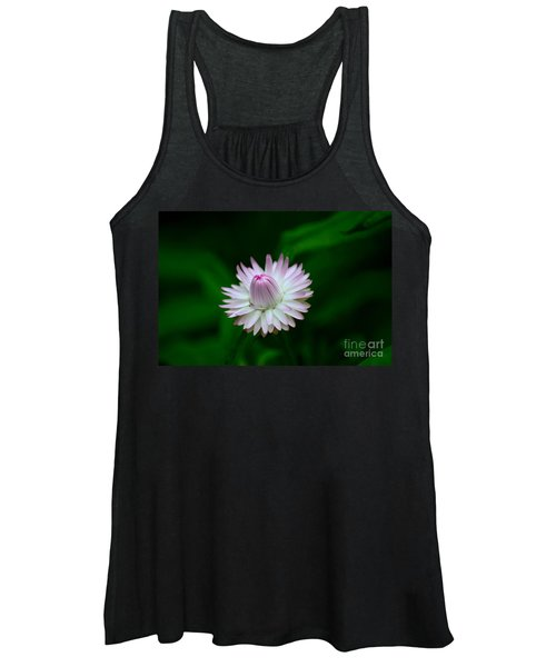 Violet And White Flower Sepals And Bud Women's Tank Top