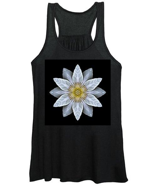 White Clematis Flower Mandala Women's Tank Top