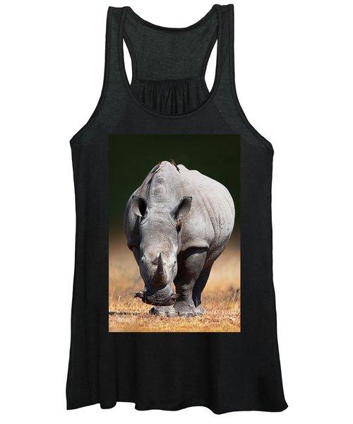 White Rhinoceros  Front View Women's Tank Top