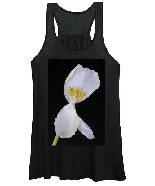 White Tulip On Black Women's Tank Top