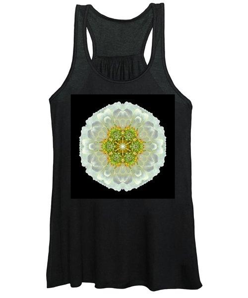 White Zinnia Elegans V Flower Mandala Women's Tank Top