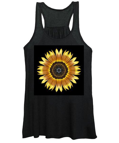 Yellow And Brown Sunflower Flower Mandala Women's Tank Top