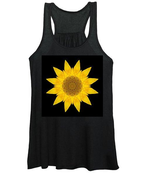 Yellow Sunflower X Flower Mandala Women's Tank Top