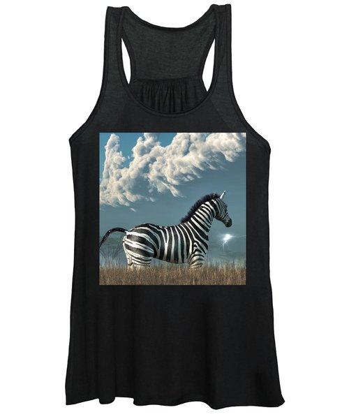 Zebra And Approaching Storm Women's Tank Top