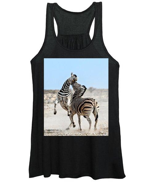 Zebra Stallions Fighting In Etosha Np Women's Tank Top