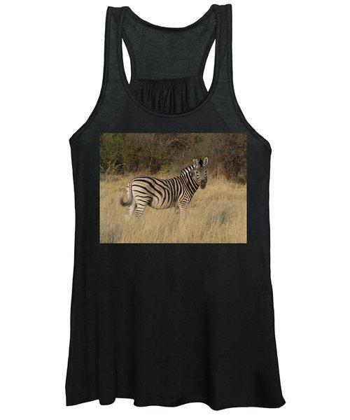 Zebra Standing In A Forest, Okavango Women's Tank Top