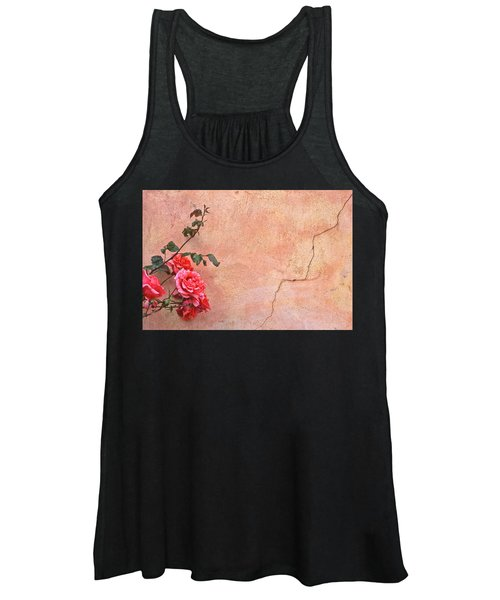 Cracked Wall And Rose Women's Tank Top