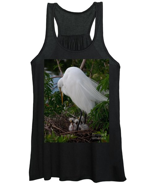 Egret With Chicks Women's Tank Top
