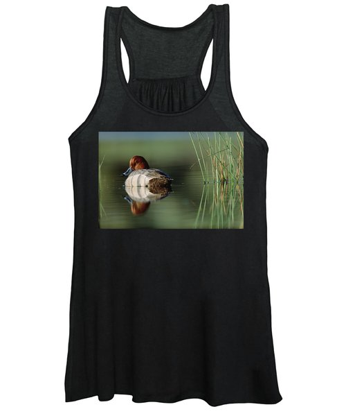 Redhead Duck Male With Reflection Women's Tank Top