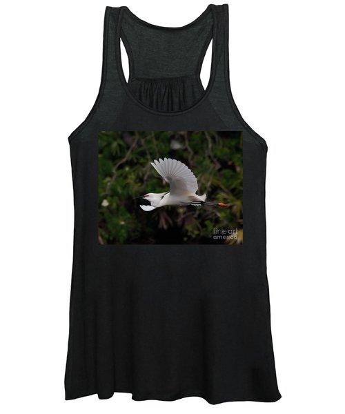 Snowy Egret In Flight Women's Tank Top