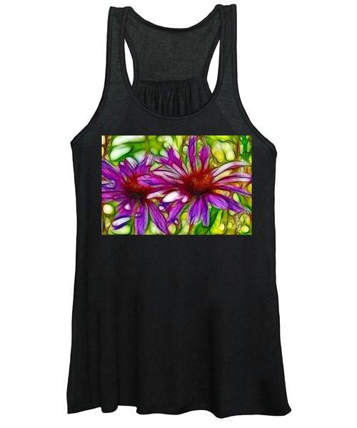 Two Purple Daisy's Fractal Women's Tank Top