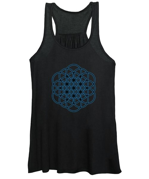 Sacred Geometry - Black Flower Of Life - Seed Of Life With Blue Halo Over Black Canvas Women's Tank Top