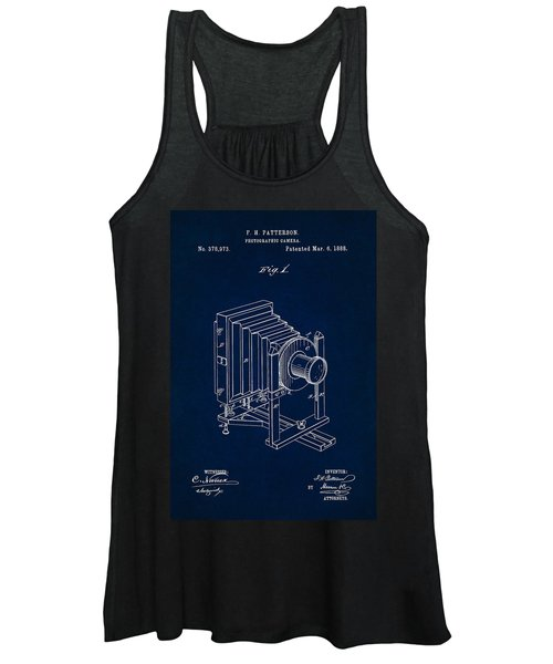 1888 Camera Us Patent Invention Drawing - Dark Blue Women's Tank Top