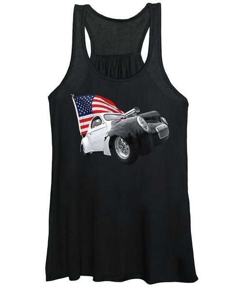 1941 Willys Coupe With Us Flag Women's Tank Top