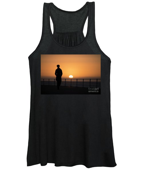 A Woman Silhouetted At Sunset Women's Tank Top