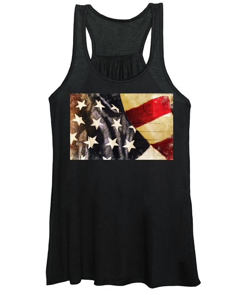 America Flag Pattern Postcard Women's Tank Top