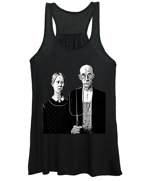Women's Tank Top featuring the digital art American Gothic Graphic Grant Wood Black White Tee by Edward Fielding